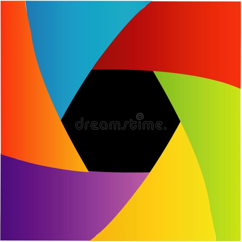 Colorful Shutter aperture. Background or design element royalty free illustration
