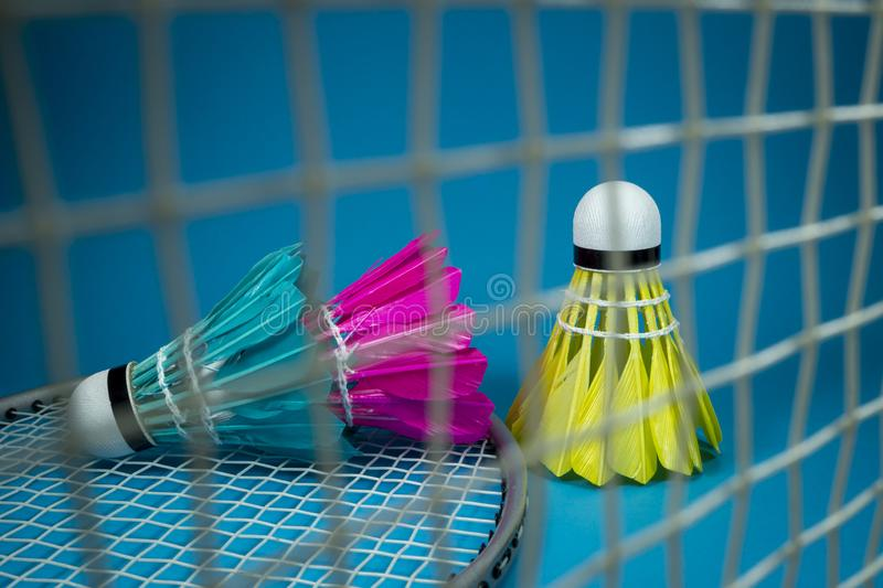 Colorful shuttlecocks with a badminton net stock photography