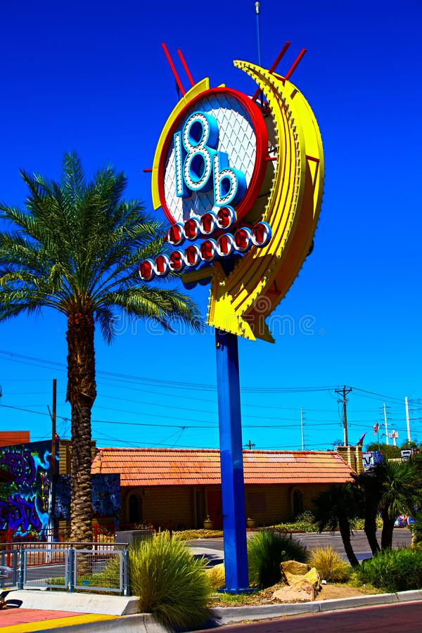 A colorful sign at arts district in downtown Las Vegas. stock illustration