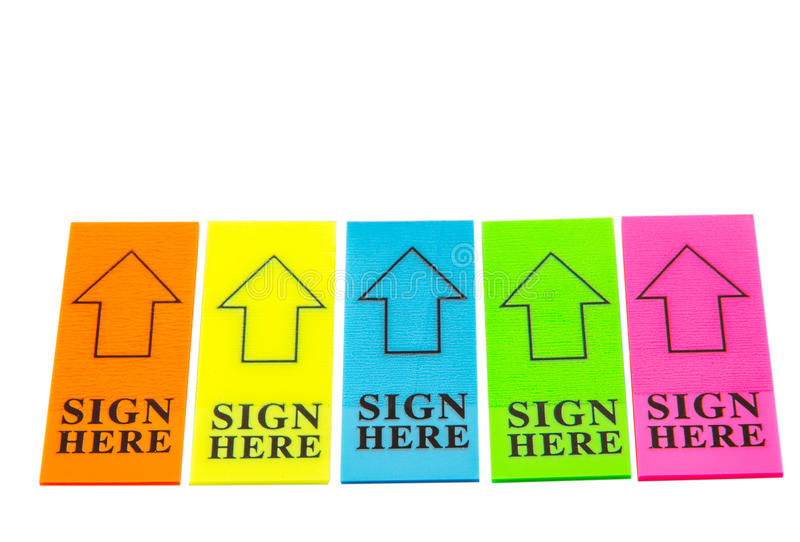 Colorful SIGN HERE Arrow Tag stock image