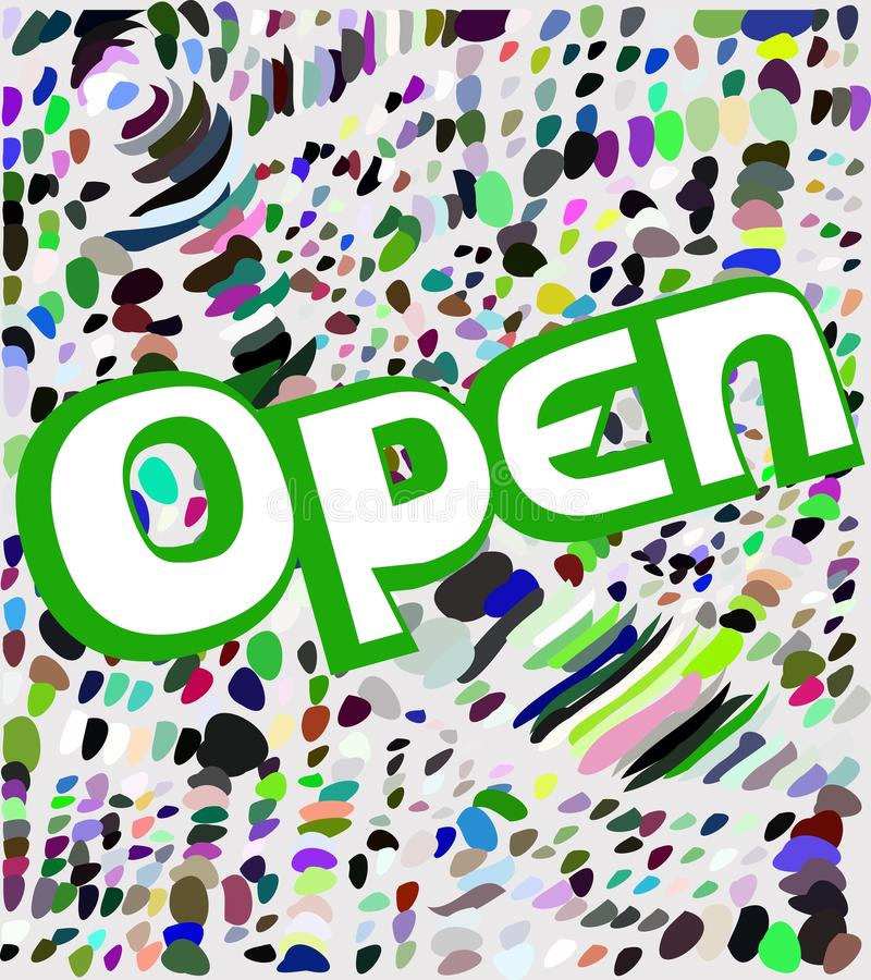 Colorful signboard with word open stock illustration