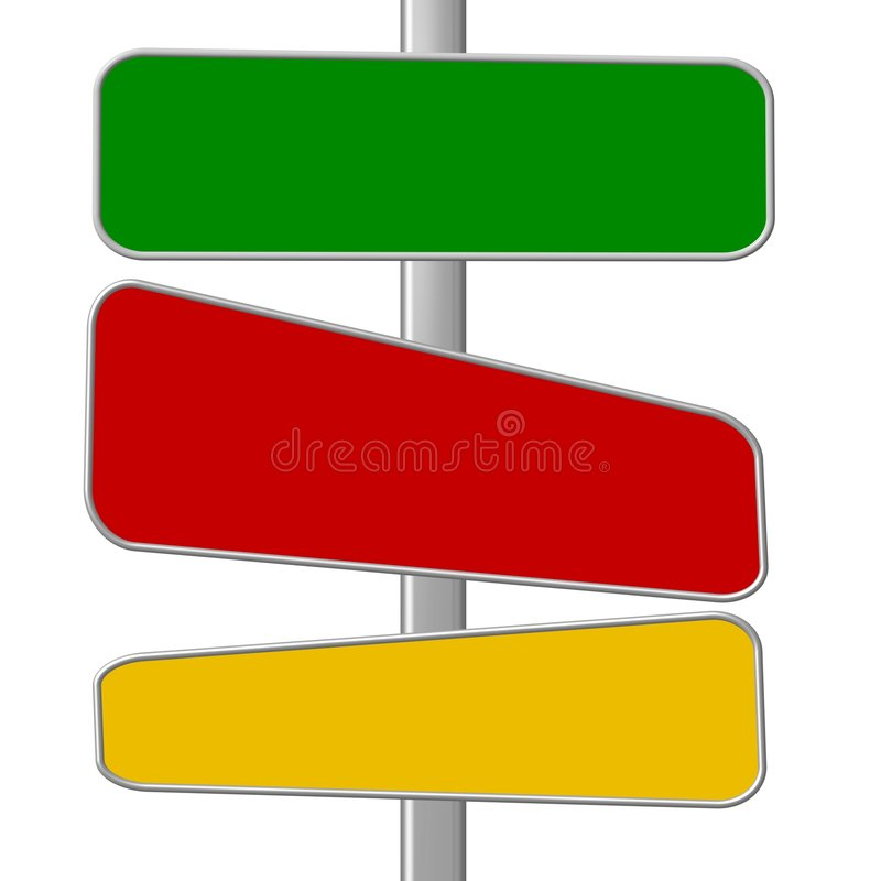 Colorful signposts. An illustrated background with three blank banners / signposts of different colors on a pole, isolated on a white background stock illustration