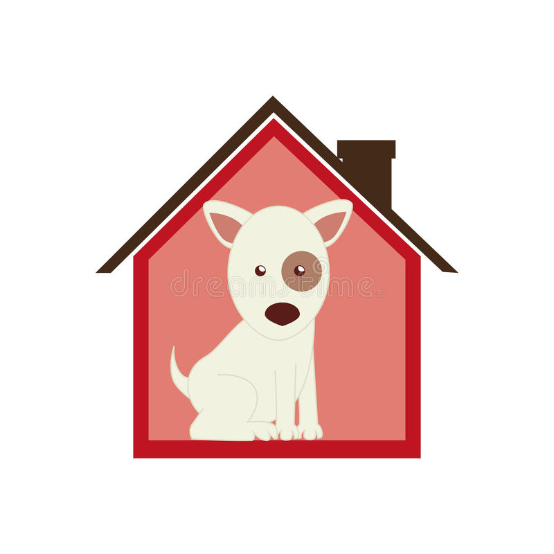 Colorful silhouette house with dog animal pet stock illustration