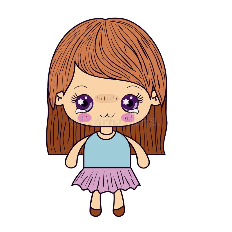 Colorful silhouette of kawaii cute little girl with straight hair and facial expression depressed. Vector illustration royalty free illustration