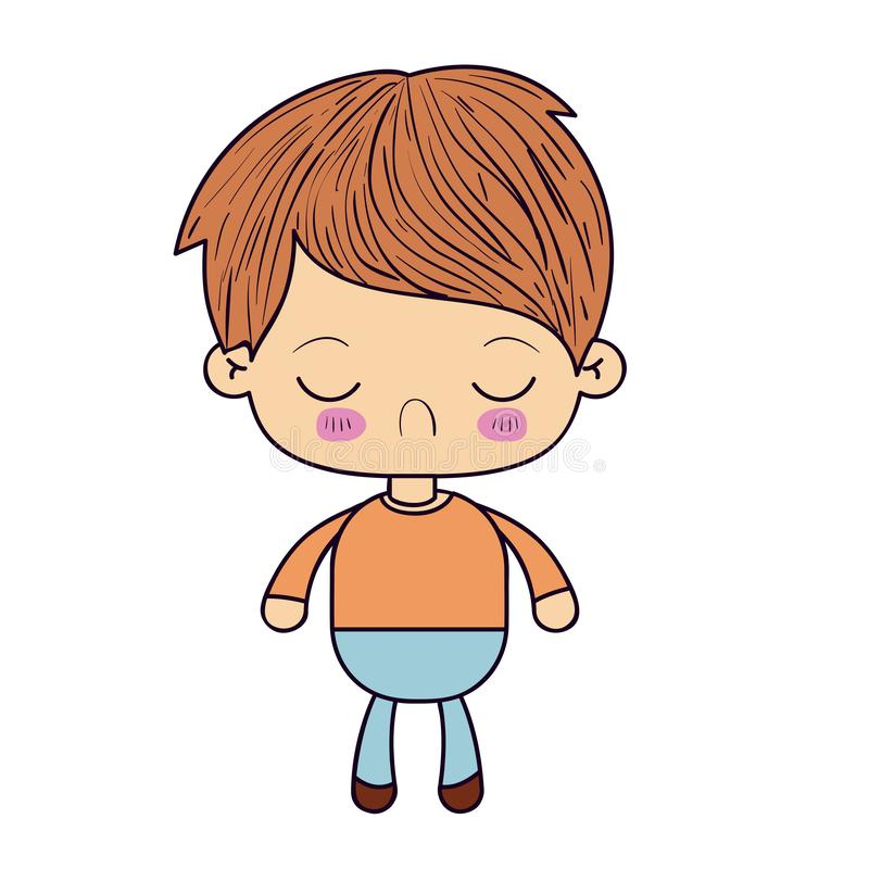 Colorful silhouette of kawaii little boy with facial expression disgust with closed eyes. Vector illustration vector illustration
