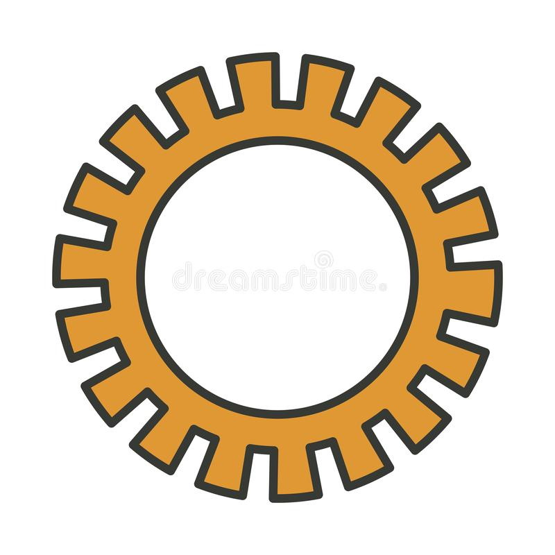 Colorful silhouette of pinion icon with thick contour. Vector illustration royalty free illustration