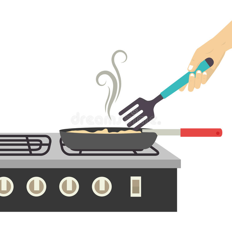 Colorful silhouette stove with frying pan. Vector illustration vector illustration
