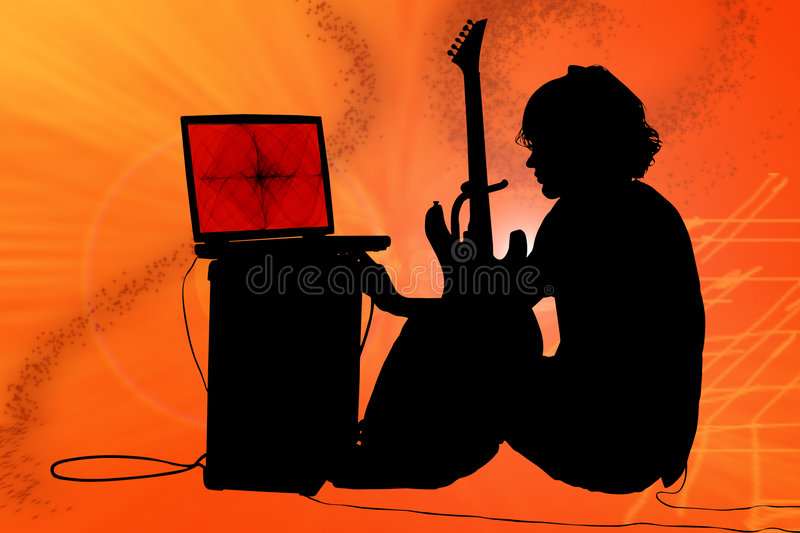 Download Colorful Silhouette Of Teen Boy With Guitar Stock Photo - Image: 6804328