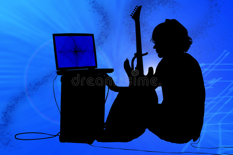 Colorful Silhouette of Teen Boy with Guitar. Teen boy with guitar, amp, computer stock images