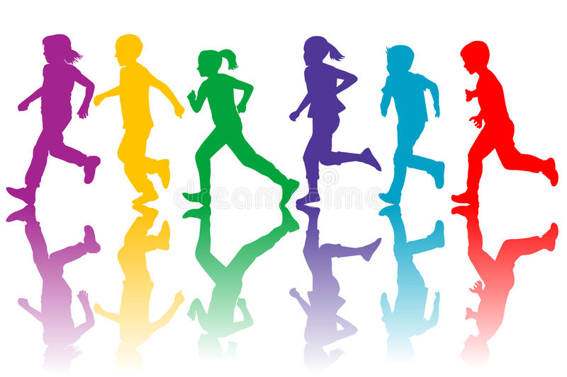 Colorful silhouettes of children running stock illustration