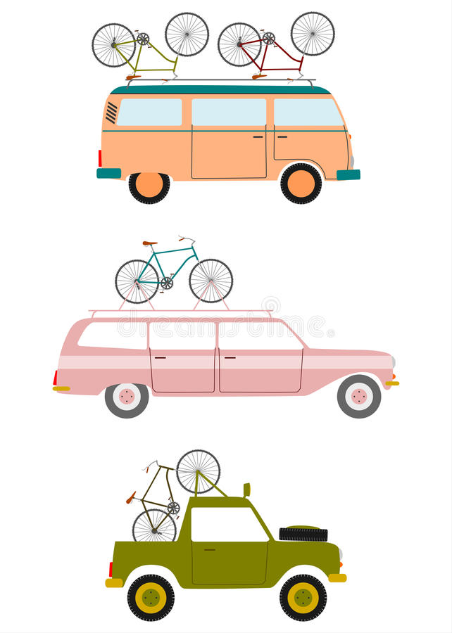 Cars transporting bicycles. royalty free illustration
