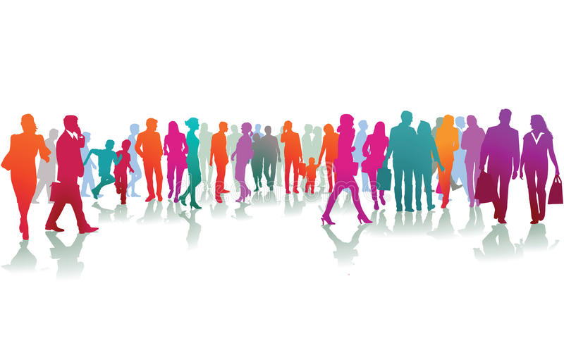 Colorful silhouettes of people royalty free illustration