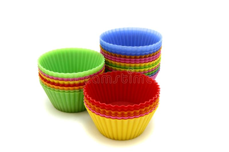 Colorful silicone cake molds royalty free stock photo