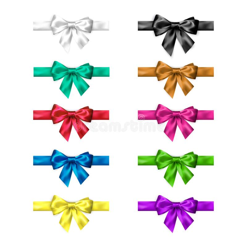Colorful silk bow set with ribbons. Decoration collection of elegant bows. Bow design different colors. Vector royalty free illustration