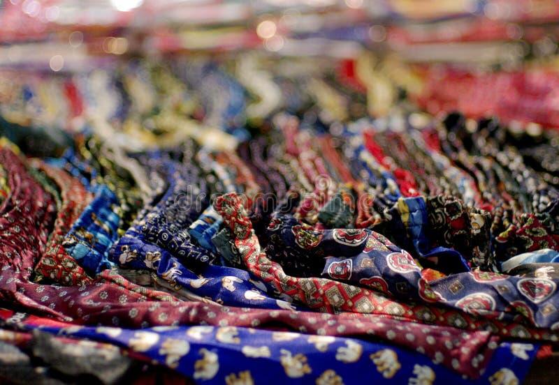 Colorful silk fabric, printed pattern stock photos