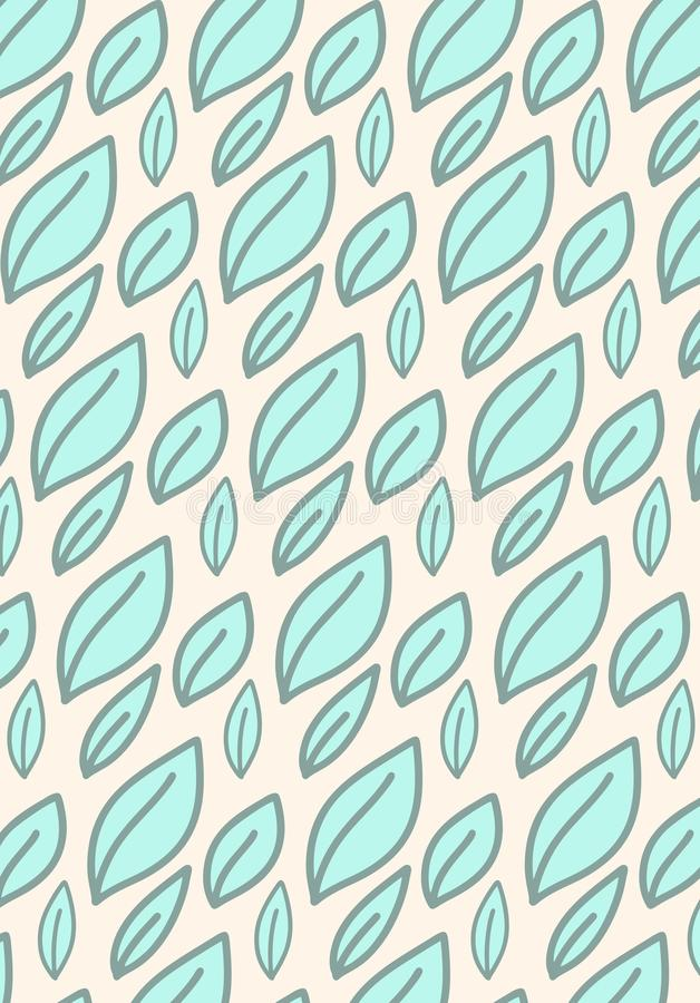 Colorful simple doodle pattern with leaves on light beige background. Flat vector illustration stock illustration