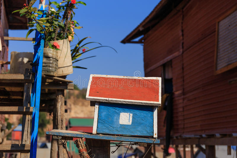 Colorful Simple Letter Box. In rural village at Siem Reap, Cambodia stock photo