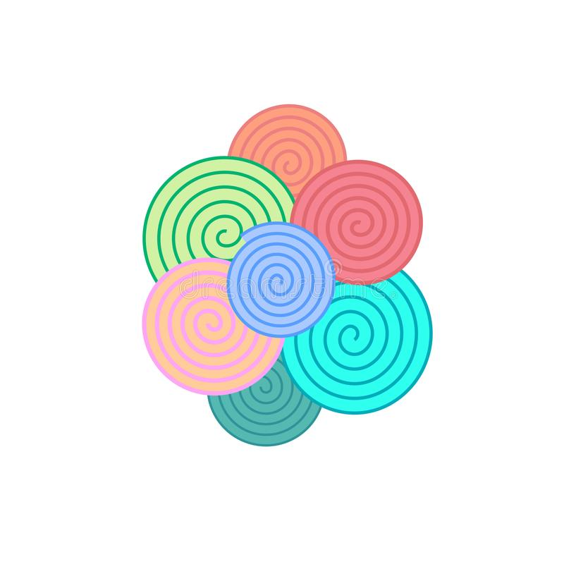 Colorful simple spiral elements, vector royalty free illustration