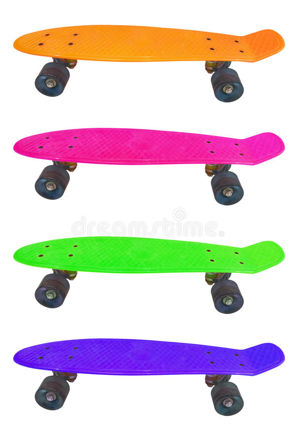Colorful skateboard isolated on white background stock photography