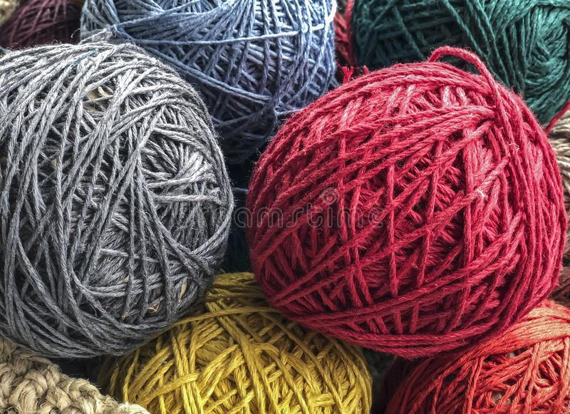 Colorful skeins as a background stock photos
