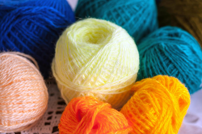 Colorful skeins of yarn for knitting. Colorful skeins of yarn for a knitting stock image