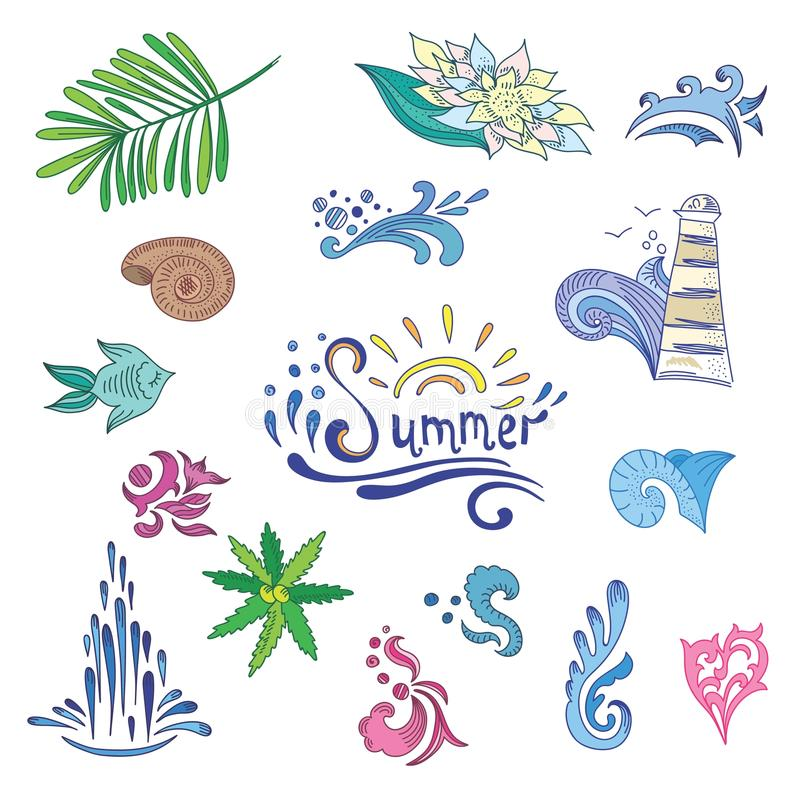Colorful Sketch Style Summer Icons royalty free illustration