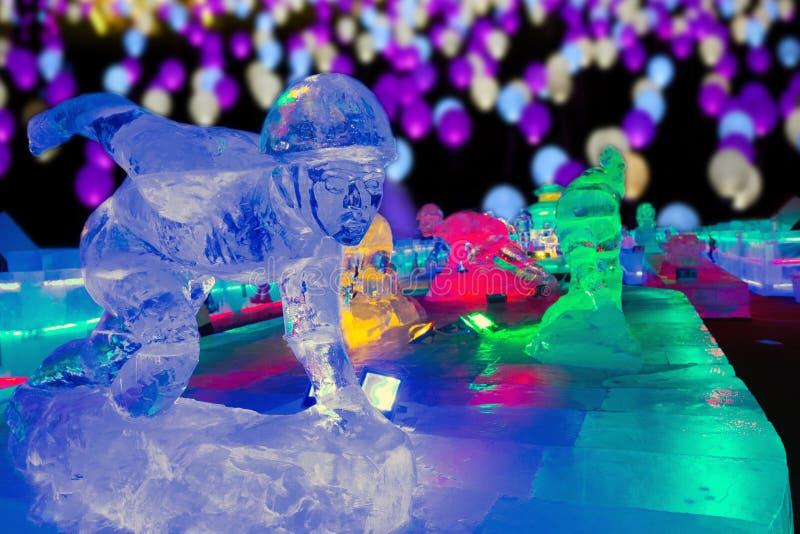 Ice sculpture night, Beijing stock images