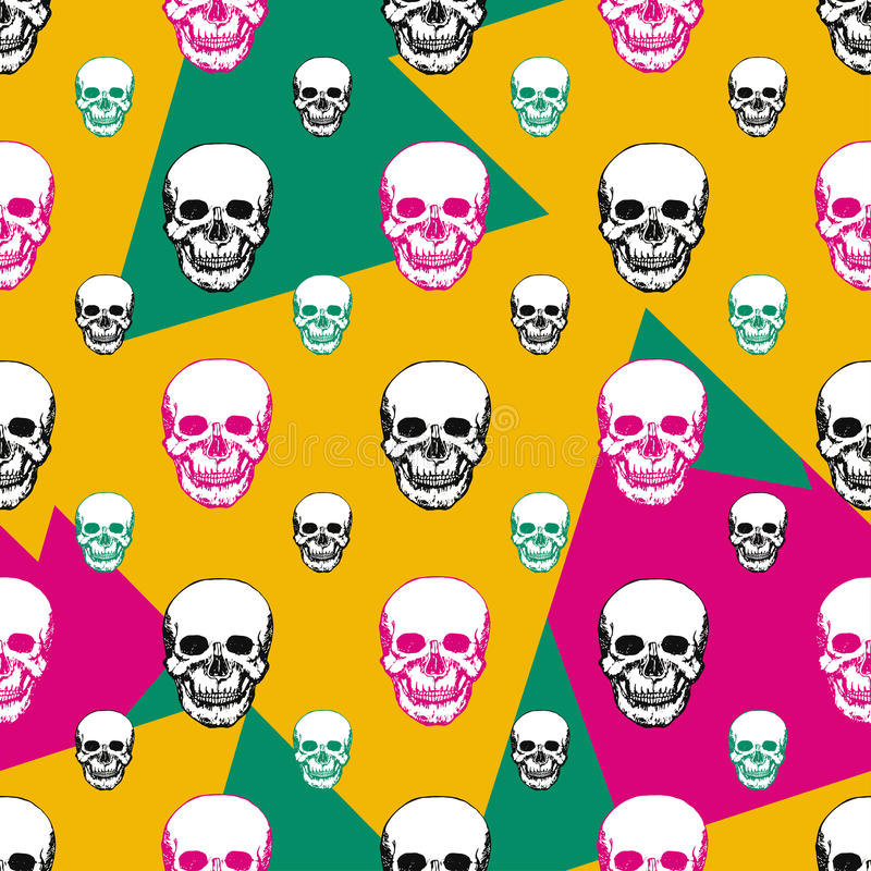Colorful skulls print. Skull seamless pattern. Hand drawn swatch with color background for textile, fabric, wrapping. Vector art vector illustration