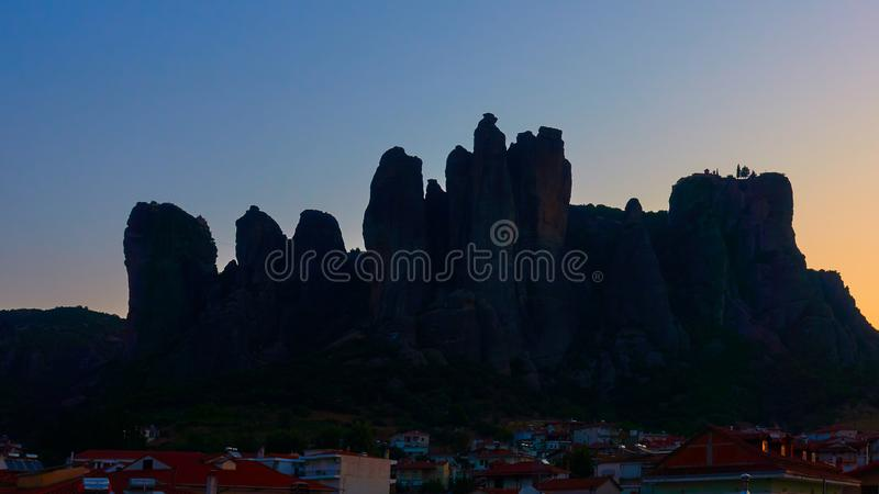 Silhouette of The Merera rocks at dawn stock photos