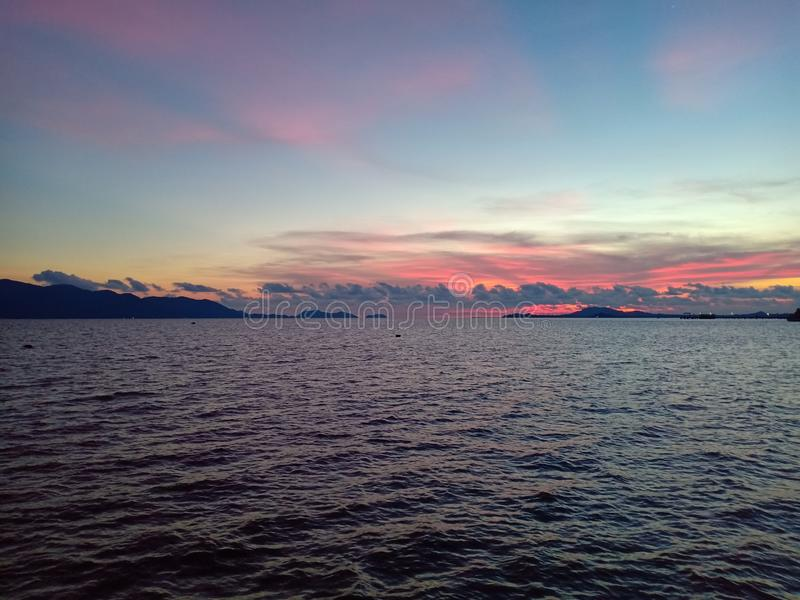 Colorful sky in blue sea near Koh chang royalty free stock image
