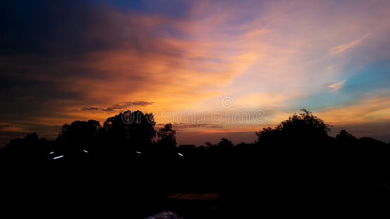 Twilight sky and cloud at evening background stock images