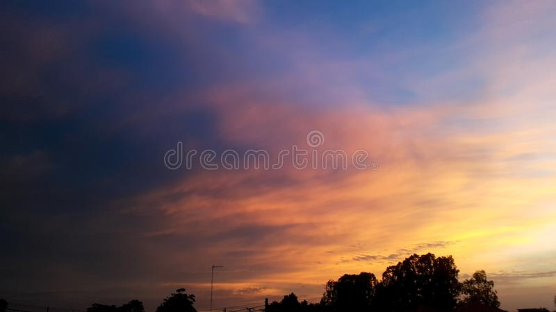 twilight sky and cloud at evening background stock photography