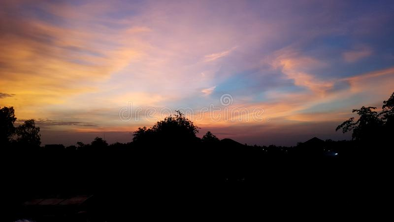 twilight sky and cloud at evening background stock image
