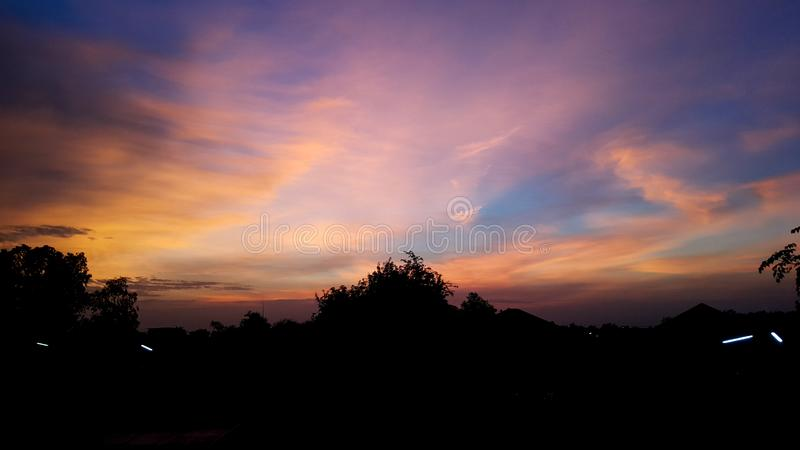 Twilight sky and cloud at evening background royalty free stock photos
