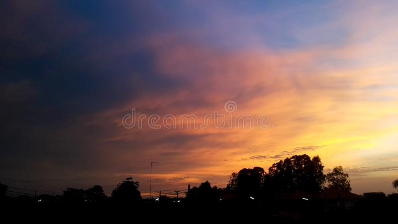 Colorful sky with clouds village  , twilight sky and cloud at evening background royalty free stock images