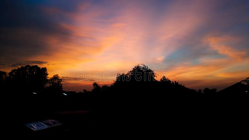 twilight sky and cloud at evening background stock photos