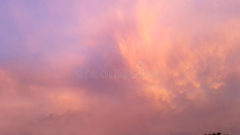 Colorful sky with clouds village stock photography