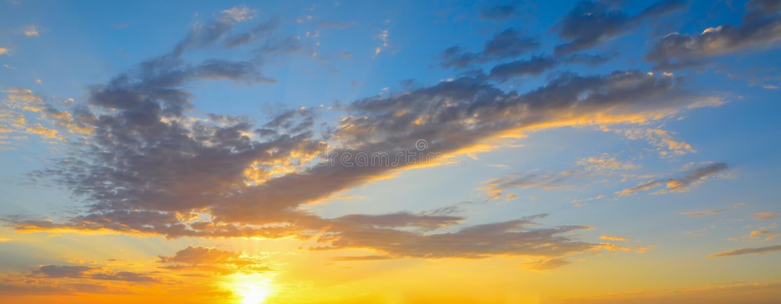 Colorful sky at sunset. Sardinia stock photo