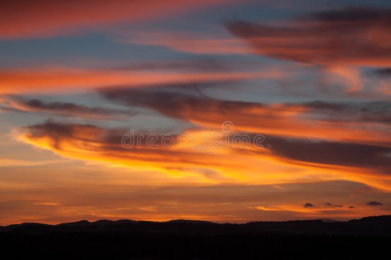 Colorful sky and clouds after sunset stock photos