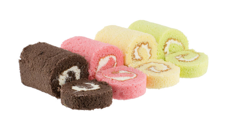 Colorful slice roll cake royalty free stock image