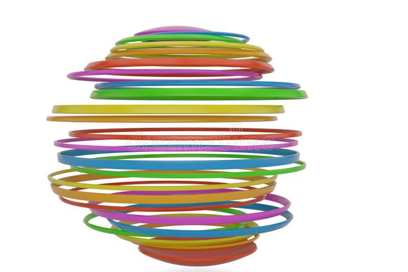 Colorful sliced sphere isolated on white background 3D illustration. stock illustration