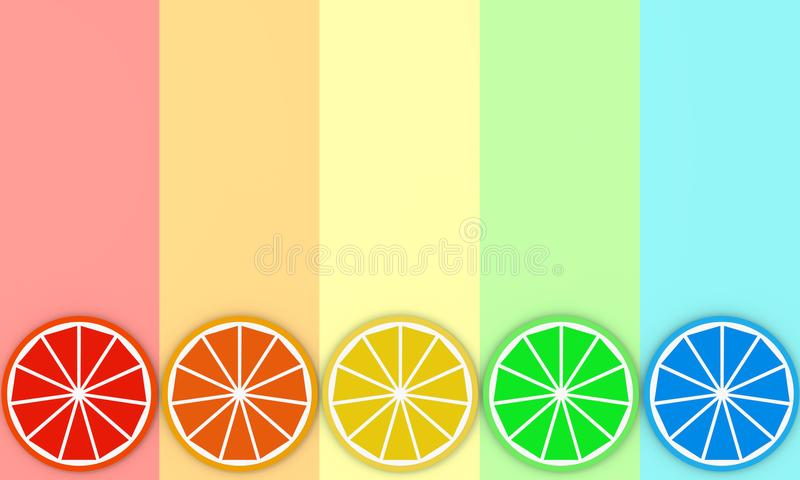 Colorful slices of orange on rainbow color background 3D illustration vector illustration