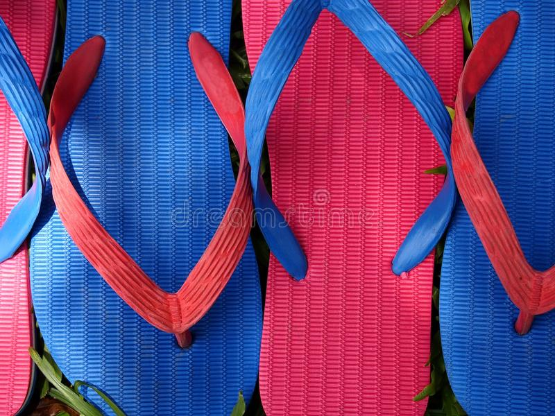 Colorful Slippers or Flip Flops. Photo of colorful rubber slippers or flip flops on fresh green grass royalty free stock images