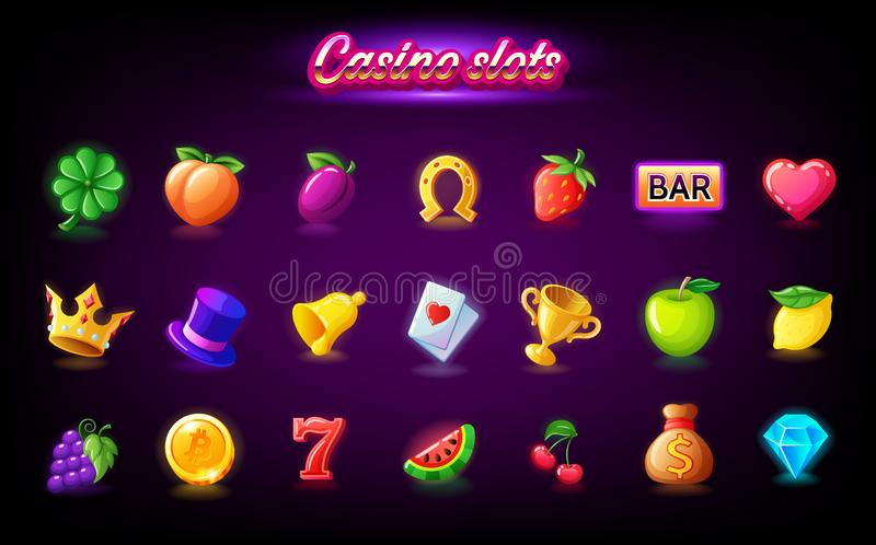 Colorful slots icon set for casino slot machine, gambling games, icons for mobile arcade and puzzle games vector. Colorful slots icon set for casino slot machine vector illustration