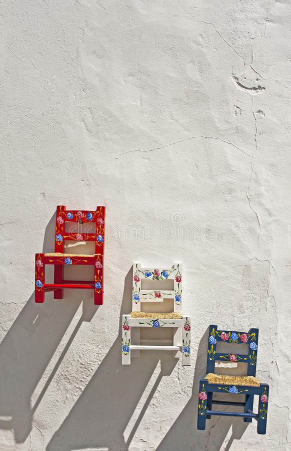 Colorful small chairs royalty free stock images