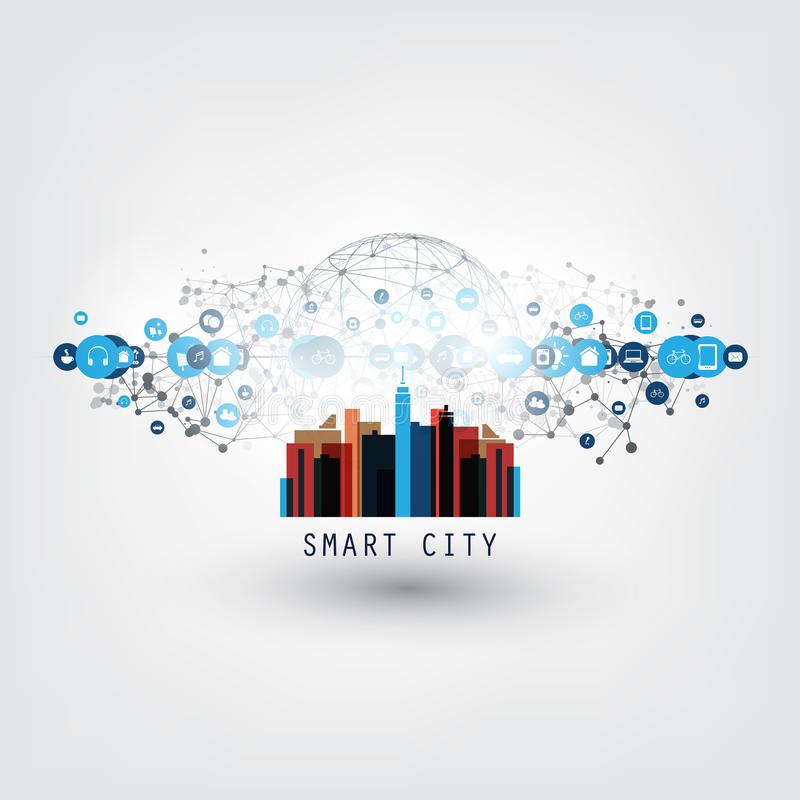 Colorful Smart City, Internet of Things or Cloud Computing Design Concept with Icons - Digital Network Connections royalty free illustration