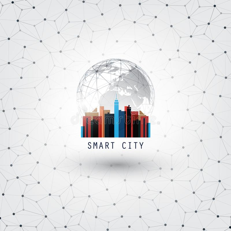 Colorful Smart City, Internet of Things, Networking or Cloud Computing Design Concept - Digital Network Connections stock illustration