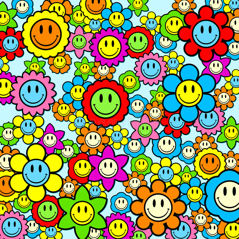 Free Colorful Smiley Face Flower Background Stock Photos - 5663483