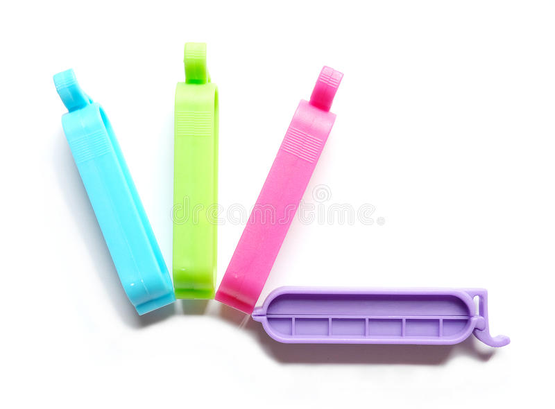 Colorful snack bag clips stock photography