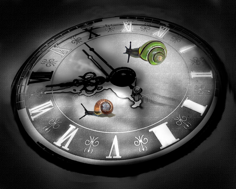 Colorful snails raicing on clock background. royalty free stock photos